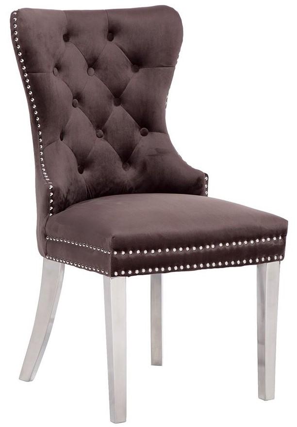chaises de salle a manger design capitonnees brun pieds chorome anneau