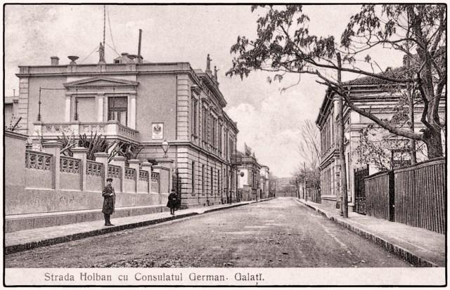 Galati-strada Culturii-fostă Nicolae Holban. În spate- consulatul Germaniei. foto - cca.1900