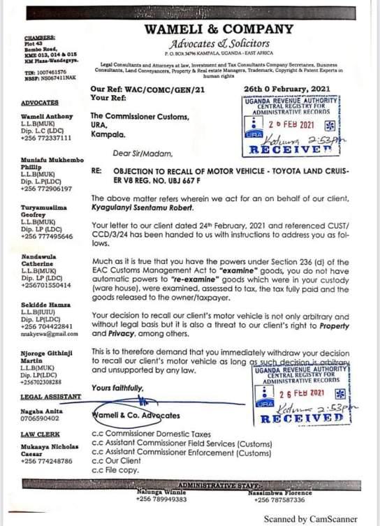 Bobi Wine's lawyers wrote to URA