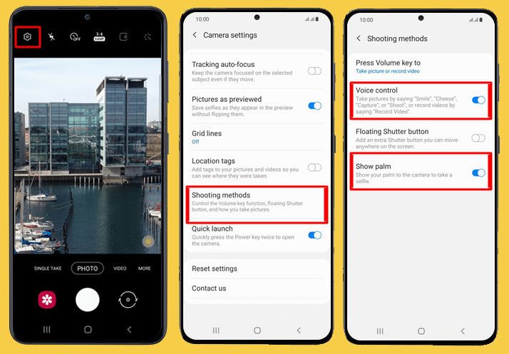 enabling voice commands on camera
