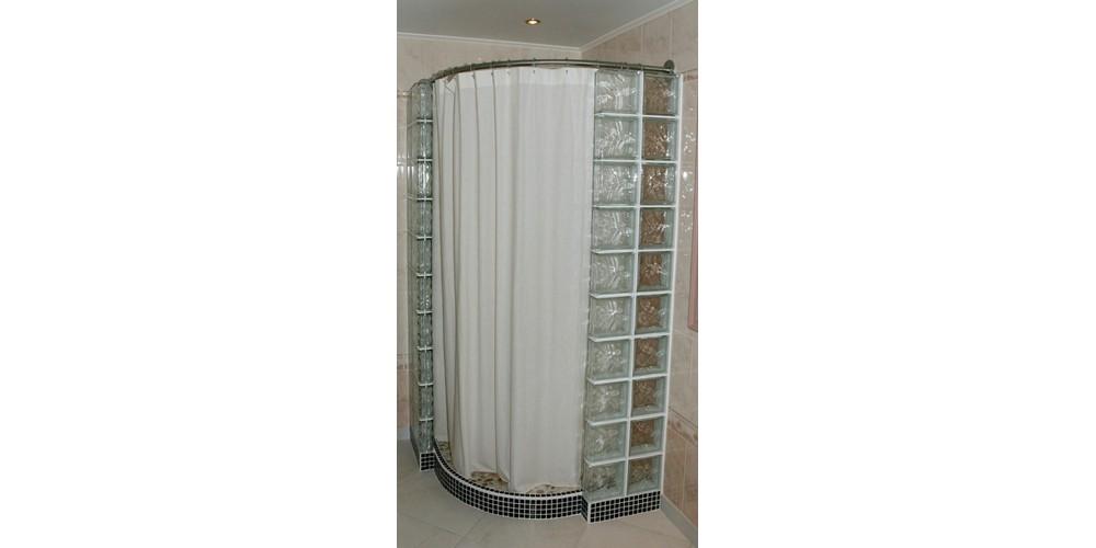 douche italienne quart de rond et barre