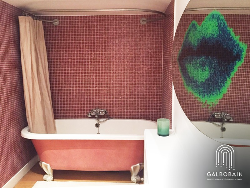 barre ovale et rideau de douche en lin