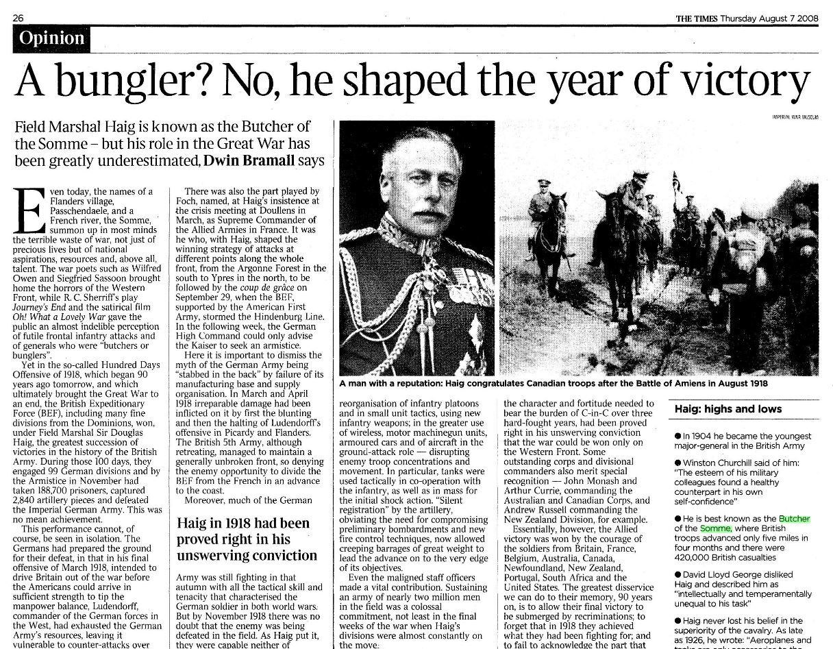 Contention in the British Press: WWI – Likelihood and Leadership