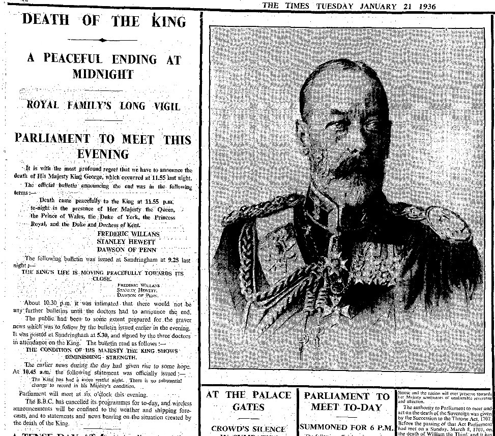The Death of George V – As Reported First in The Times