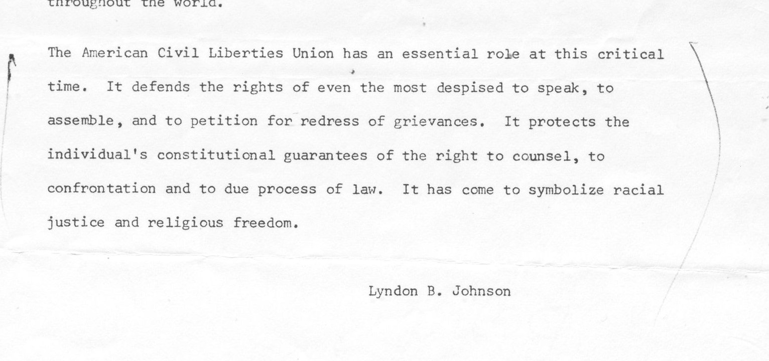 The US Presidency and the American Civil Liberties Union