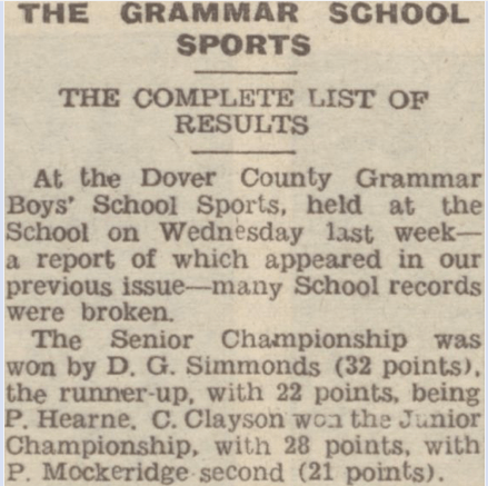 THE GRAMMAR SCHOOL SPORTS, Dover Express, 21st July 1950, British Library Newspapers