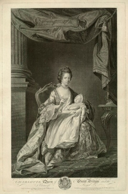 British Royal Babies - Sophia Charlotte of Mecklenburg-Strelitz; Charlotte Augusta Matilda, Princess Royal, by and published by William Wynne Ryland, after Francis Cotes, line engraving, published 1770, NPG D33076