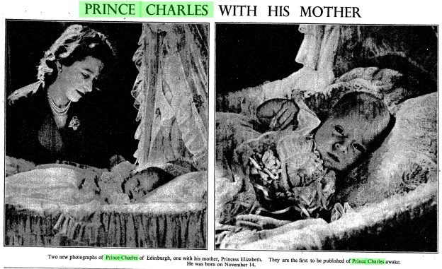 British Royal Babies - Prince Charles pictured with his mother in the Times, 1948