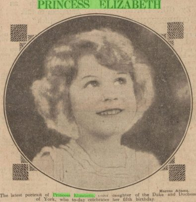 British Royal Babies - Princess Elizabeth pictured in the Evening Telegraph 1931