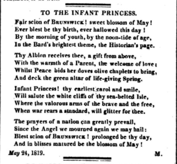 British Royal Babies - a poem about the birth of Queen Victoria published in the Morning Post