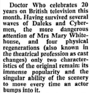 "Hewson,, David. ""Time traveller clocks up 20 years."" Times, 14 Nov. 1983, p. 3. The Times Digital Archive, http://link.galegroup.com/apps/doc/CS51613038/GDCS?u=uniportsmouth&sid=GDCS&xid=7419104d"