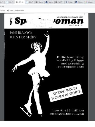 """""""The Sports Woman."""" Sportswoman, vol. 1, no. 4, November-December 1973. Women's Studies Archive,"""