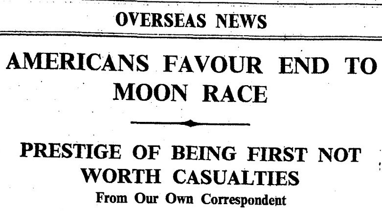 "From Our Own Correspondent. ""Americans Favour End To Moon Race."" Times, 9 Apr. 1963, p. 10. The Times Digital Archive"