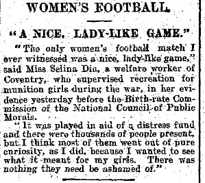 """""""Women's Football."""" Daily Mail, 8 Dec. 1921, p. 5. Daily Mail Historical Archive, 1896-2004"""