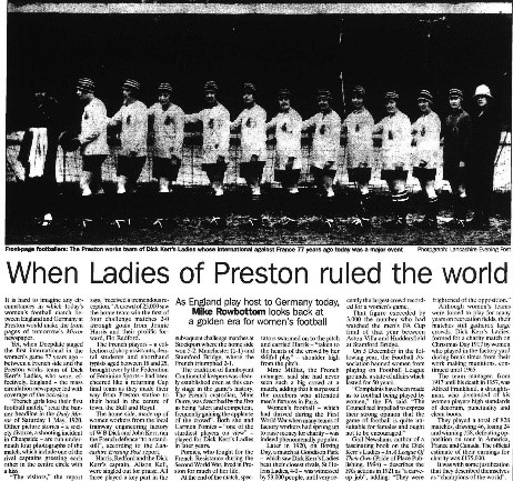 """Rowbottom, Mike. """"When Ladies of Preston ruled the world."""" Independent, 27 Feb. 1997, p. 26. The Independent Digital Archive"""