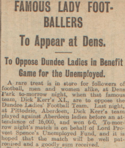 """""""Famous Lady Footballers."""" Evening Telegraph, 6 Sept. 1921, p. 11. British Library Newspapers"""