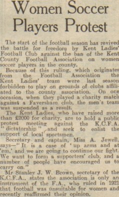 """""""Women Soccer Players Protest."""" Evening Telegraph, 30 Aug. 1947, p. 8. British Library Newspapers"""