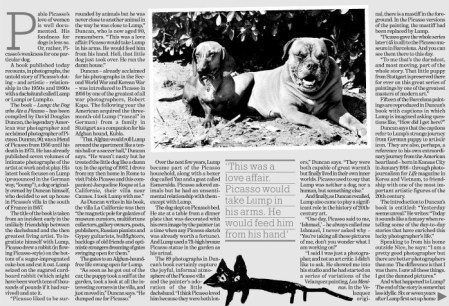 """Lichfield, John. """"One man and his dog."""" Independent, 1 May 2006, p. [1]+. The Independent Digital Archive"""