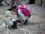 Dibujo runa en manifestación contra destitución de Gustavo Petro