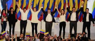 Juan Manuel Santos celebra victoria