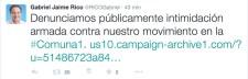 El 20 de agosto Gabriel Jaime Rico denunció intimidaciones a su campaña en la Comuna 1