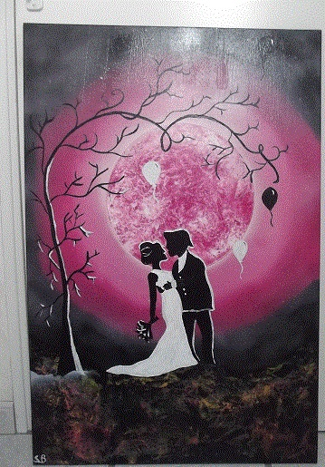 Tableau Peinture Art Mariage Amour Bombe Personnages