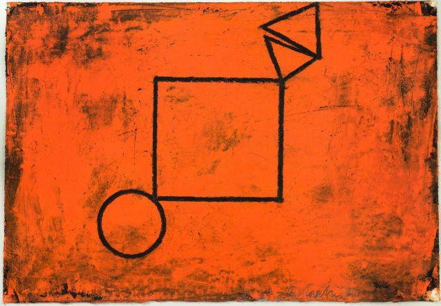Bernd Hahn // Zeichen auf Rot Acryl, Kreide 2005