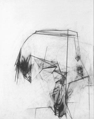 """Großer Kopf"", Graphit, 100 x 75 cm, 2006"