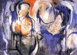 Atembogen, Malereicollage auf Leinwand, 150 cm x 205 cm, 1998