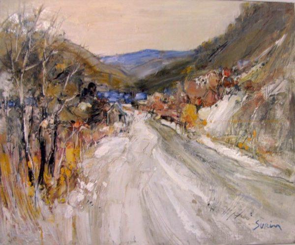 Paysage en hiver, peinture de Jean-Paul Surin