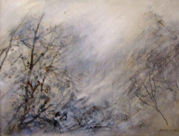 Brume en forêt peinture Simon C.