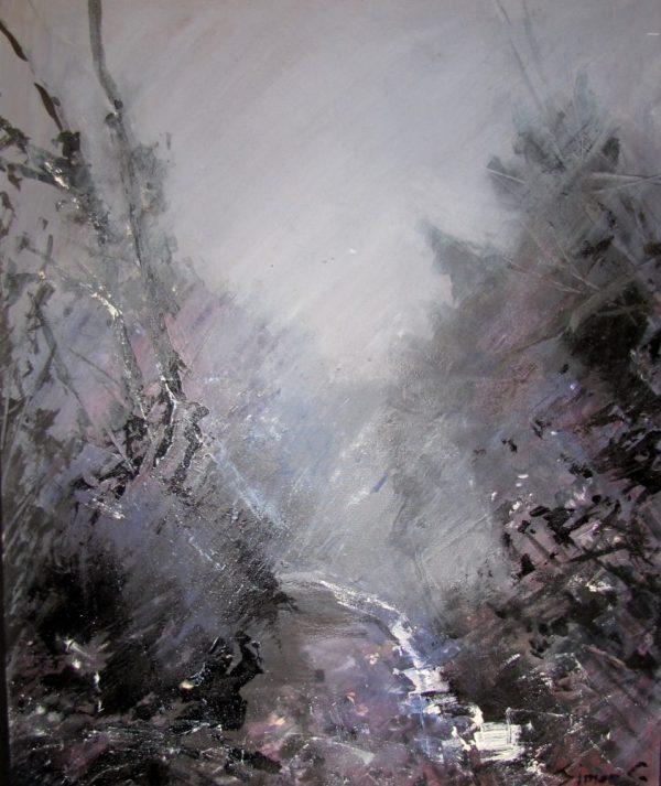 Foret entre chien et loup peinture Simon C.