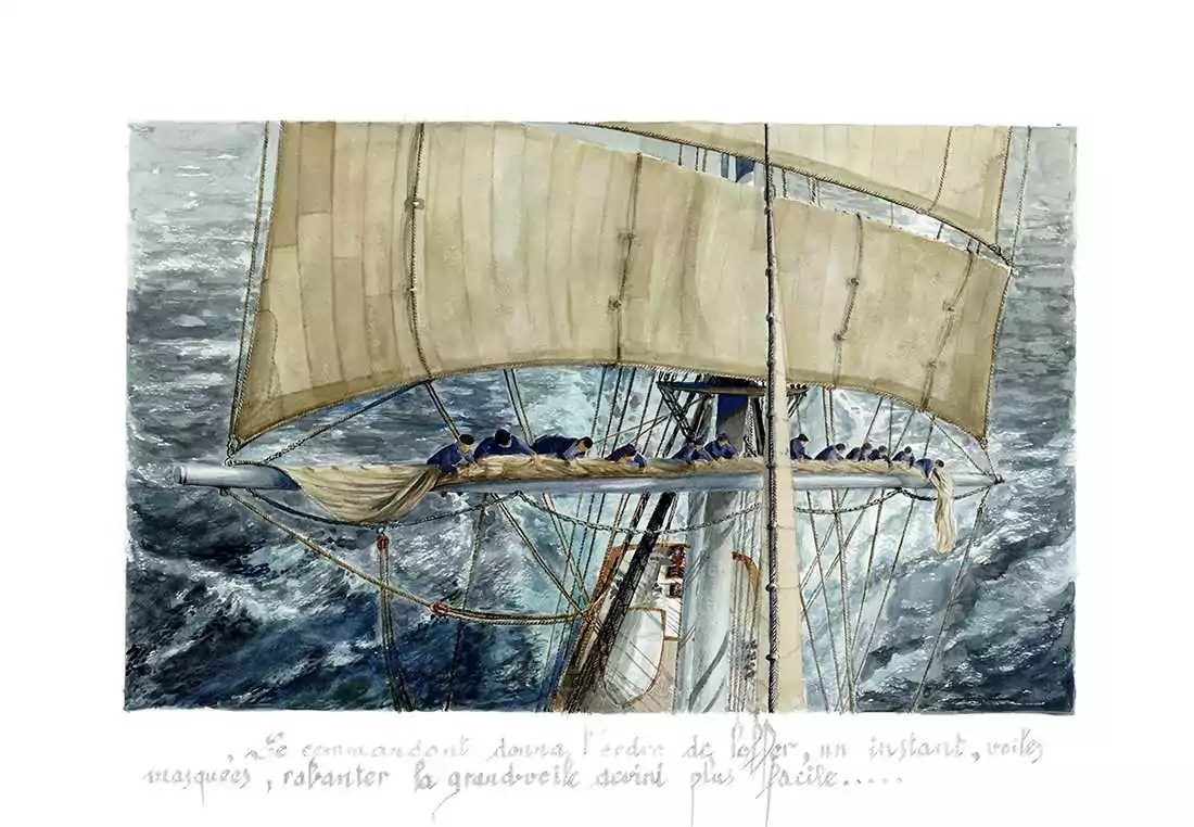 Exposition PIERRE RAFFIN-CABOISSE voilier loffer la grande voile