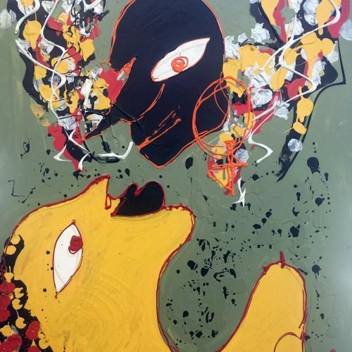 Le baiser Maure Isa Sator 80 x 63 Technique mixte sur toile