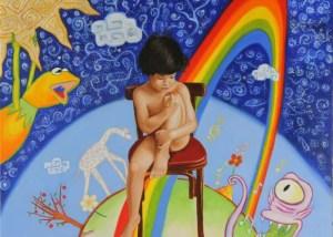 Boy on a red chair (Garçon sur une chaise rouge) par Christophe Stephan Durand