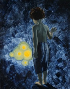 Boy in the blue par Christophe Stephan Durand Huile sur coton 40x50cm