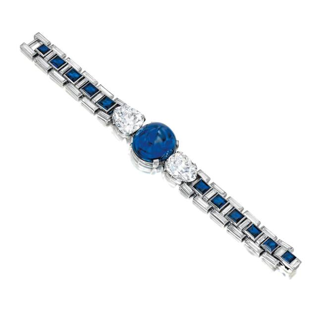 Cartier Diamond and Sapphire Bracelet. 46.07 carats Burmese cabochon sapphire. Photo: Sotheby