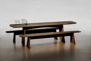 Régis AUBRY, Table et bancs en cèdre vernis, 2006