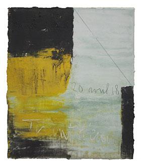 Tirant d'eau 20 04 2018. Acrylique et pigments, 38,5 cm x 47 cm.