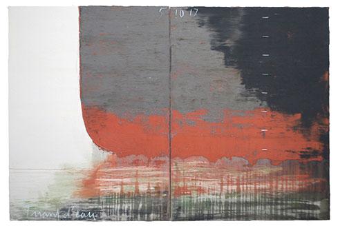 Tirant d'eau 5 10 17. Acrylique et pigments,130 cm x 194 cm
