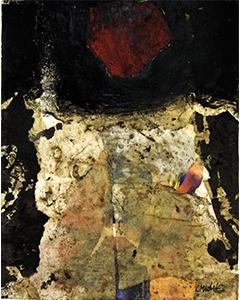 Sans titre. Technique mixte et collage, 30 x 24 cm.