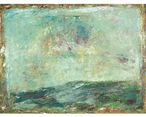 Grand paysage aux bors dorés, 2015. Huile sur toile, 130 cm  x 97 cm.