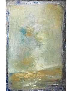 Paysage clair au bords outremer, 2015. Huile sur toile, 146 cm x 97 cm.