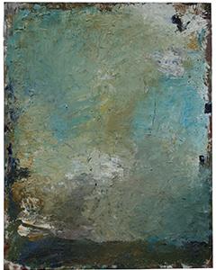 Paysage dans le ciel avec une table à droite, 2017. Huile sur bois, 146x114cm.