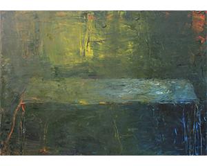 Longue table, 2009. huile sur bois, 144 cm x 162 cm.