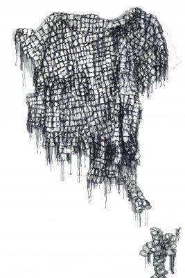 """Anne LACOUTURE, """" Onantsira """", oeuvre en évolution. Fil, papier, feutre. 300 cm x 700 cm."""
