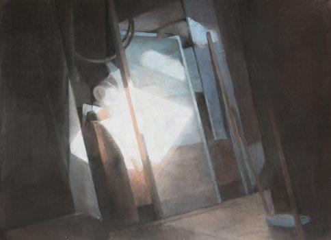"""Emmanuelle Pérat, """"Lumière au fond du grenier"""", 2019. Pastel sec sur toile, 112 cm x 82 cm."""