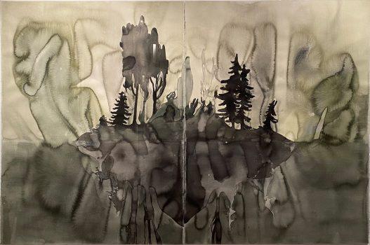 """Françoise Pétrovitch. """"Île"""", 2016. Lavis d'encre sur papier, 160 x 240 cm."""