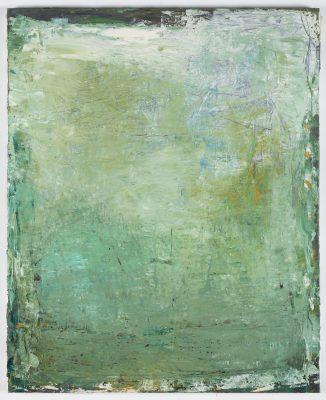 Marc RONET, « Paysage vert vertical », 2015. Huile sur toile, 100 x 81 cm.  ©bertrandhugues