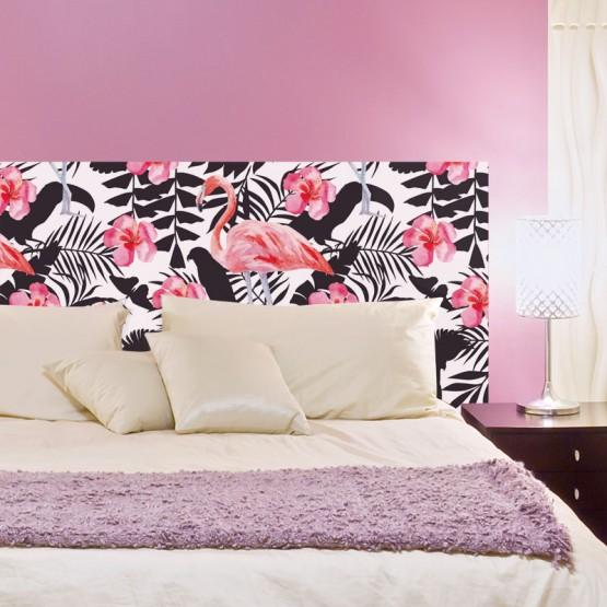 tete de lit exotique flamant rose